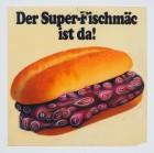 """""""Super Fischmäc"""", 2019, Öl auf Kunststoff (alte Werbung), 40x40cm"""